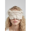 Soft Fleece Cartoon Printed Sleeping Eye Mask with Elastic Strap