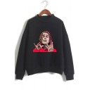Mock Neck Long Sleeve Character Printed Leisure Sweatshirt