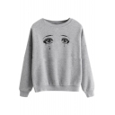 Round Neck Long Sleeve Eye Printed Loose Gray Sweatshirt