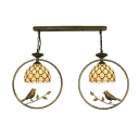 Jeweled Suspended Light Tiffany Style Beige Glass Double Head Pendant Light with Birds