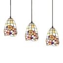 Shelly Suspension Light Tiffany Style Metal Triple Light Accent Pendant Light for Restaurant