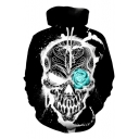 3D Loose Unisex Hot Popular Long Sleeve Skull Printed Black Hoodie