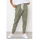 Hot Sale Plain Drawstring Waist Leisure Pants