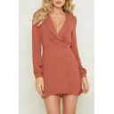 Ladies' Fashion Plunge Neck Button Detail Long Sleeve Solid Tube Dress