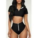 Cool Black Half-Zip Short Sleeve Cropped Top with High Waist Bottom Swimwear