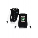 Single Breasted Long Sleeve Stand Collar Colorblock Letter SERPENTS Printed Baseball Jacket