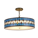 Drum Hanging Lamp Tiffany Mediterranean Style Stained Glass 3/5 Lights Pendant Light in Blue