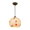Mosaic Hanging Lamp Modern Tiffany Style Art Glass 1 Head Pendant Light in Bronze Finish
