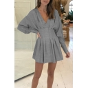 New Arrival Long Sleeve V Neck Plain Mini A-Line Gray Dress