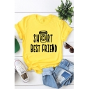 Letter Bottle Pattern Round Neck Short Sleeve Cotton Tee