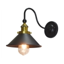 Metal Conical Wall Lamp Vintage Concise 1 Bulb Accent Lighting Fixture in Aged Brass