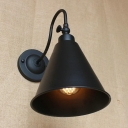 1 Bulb Conical Lighting Fixture Concise Retro Style Metal Wall Sconce with Curved Arm