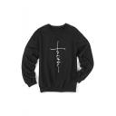 Long Sleeve Round Neck Printed Unisex Loose Sweatshirt