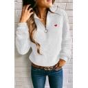 Heart Embroidered Long Sleeve Half Zip Embellished Fleece Sweatshirt
