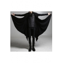 Fashionable Long Sleeve Open Front Plain Black Tunics Coat for Men