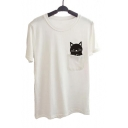 Summer's New Trendy Short Sleeve Round Neck Cartoon Cat Pocket Patched Loose White Cotton Top