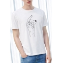 Stylish Finger Letter SNAP OUT OF Pattern Short Sleeve Round Neck White T-Shirt