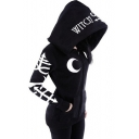 Punk Style Letter Moon Printed Long Sleeve Leisure Regular Fitted Zip-Up Black Hoodie