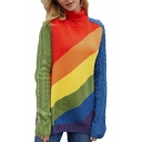 New Stylish Rainbow Striped Printed Turtleneck Long Sleeve Fitted Sweater