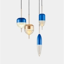 Clear Glass Shade Pendant Ceiling Lights Post Modern Blue/Gold Finish LED Hanging Lamp for Bar Counter