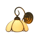 Beige Petal Shape Wall Lamp Tiffany Style Stained Glass Vintage Wall Sconce for Balcony