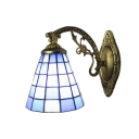 Checkered Pattern Accent Wall Sconce Tiffany Style Stained Glass Wall Lamp in Blue