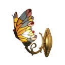 Butterfly Wall Lamp Tiffany Style Brass Wall Sconce Stained Glass for Children Room