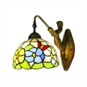 Dome Shade Floral Wall Sconce Tiffany Style Stained Glass Wall Lamp in Multicolor
