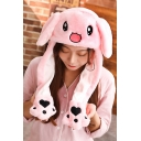 Plush Warm Cute Cartoon Rabbit Printed Ear Popping Up Funny Pink Bunny Hat