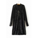 Fake Two Piece Zipper Front Plain Long Sleeve Mock Neck Patchwork Velvet Midi Shift Black Dress