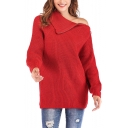 Stylish Zip Closure Turtleneck Long Sleeve Solid Red Relaxed Cozy Sweater