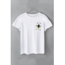 Funny Letter BEE NICE Cartoon Bee Pattern Round Neck Short Sleeve White T-Shirt