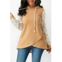 Fashion Lace-Paneled Long Sleeve Colorblock Yellow Fitted Hoodie