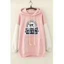 Colorblock Letter Animal Printed Long Sleeve Leisure Hoodie