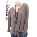 New Arrival V-Neck Button Front Long Sleeve Knotted Hem Solid Casual T-Shirt