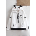 White Cute Cartoon Panda Design Ribbon Printed Leisure Hoodie