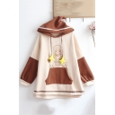 Colorblock Cartoon Figure Printed Star Ribbon Long Sleeve Leisure Hoodie