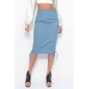 Secy Hot Style Hollow Out Lace Out Side Plain High Waist Denim Pencil Skirt