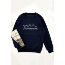 Long Sleeve Round Neck Letter ADRENALINE Printed Loose Sweatshirt