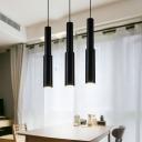Flute Pendant Lights Modern Style Aluminum Single Head Track Light in Black for Bar Counter