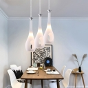 Cream Glass Flask LED Hanging Light Minimalist 1 Light Pendant Fixture for Cafe Restaurant