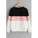 Hot Fashion Colorblock Round Neck Long Sleeve Casual Loose Pullover Sweatshirt