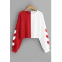 Trendy Heart Printed Long Sleeve Colorblock Two-Tone Casual Loose Cropped Sweatshirt