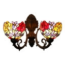 Flower Pattern Wall Mount Fixture Vintage Stained Glass Double Heads Wall Lamp in Multi Color