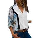 Basic Long Sleeve Lapel Collar Floral Printed Colorblock White Button Down Shirt