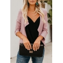 Stylish Cotton Open Front Long Sleeve Plain Fitted Jacket