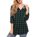 Classic Check Plaids Contrast Drawstring Hood Long Sleeve Button Placket Jacket