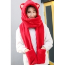 Lovely Car Ear Design Plain Mittens Gloves Headscarf Hooded Scarf