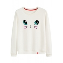Spring's New Arrival Long Sleeve Round Neck Cute Cartoon Cat Printed Leisure Sweatshirt