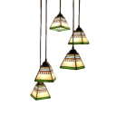 Pyramid Drop Light Vintage Stained Glass 3 Heads Pendant Lamp in Blue/Pink with Round Canopy